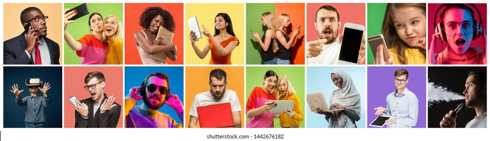 Portrait of people using different gadgets on multicolor background. Male and female models using smartphone, headphones, VR-glasses, laptop, tablet. Modern technologies. Creative collage made of 14