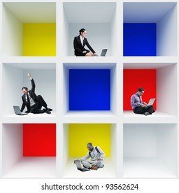 portrait of people at work in colorful box