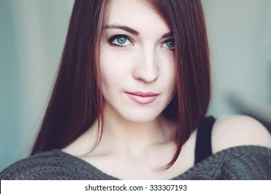 Portrait of perfect Makeup. Beautiful sexy woman with long Hair.