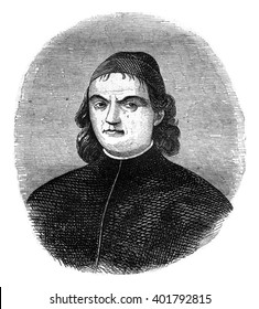 Portrait of Perugino, painted by himself, in the courtroom of the college of Currency Exchange, vintage engraved illustration. Magasin Pittoresque 1847.