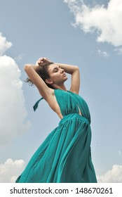portrait photo of beauty girl on the wind