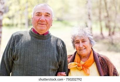 Portrait photo of happy elderly couple