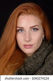 Portrait photo shoot of a beautiful young red-haired girl