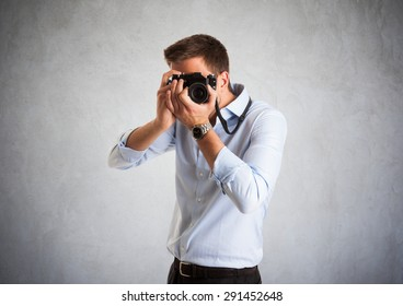 Portrait of a photographer at work