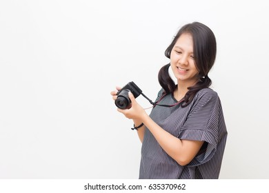 portrait photographing girl joy make photography taking concept