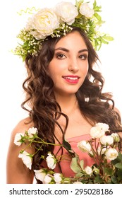 portrait photography beautiful girl with floral wreath on her head