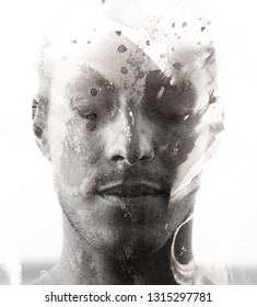 Portrait photography blends in with original artwork, black and white