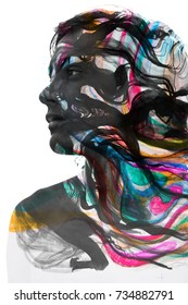 Portrait photography blends in with original artwork
