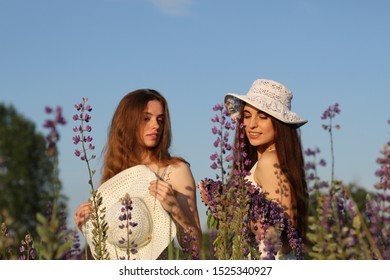 portrait photosession two beautidful girls are on the field with purple flowers summer evening