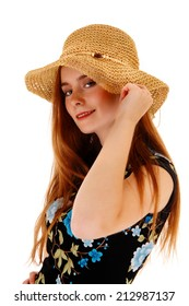 A portrait picture of a beautiful young woman wearing a straw hat, isolated on white background.