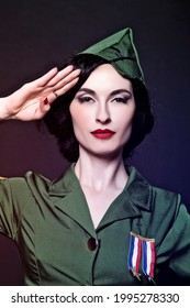 Portrait of a Pinup Burlesque Diva performing in military dress