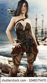 Portrait of a pirate female posing after coming ashore . 3d rendering
