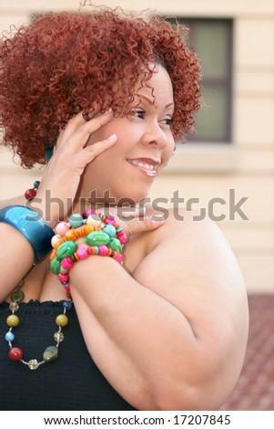 Portrait Plus Size Female Short Curly Stock Photo Edit Now