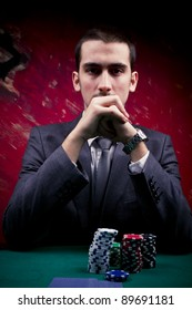 Portrait of a poker player.