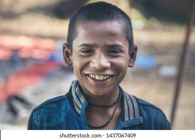 A portrait of a poor innocent Indian boy from a village