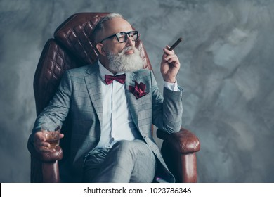 Portrait of posh chic classy virile dreamy trendy dreaming groomed brutal big company chief millionaire sitting on leather armchair smoking cigarette drinking beverage isolated on grey background