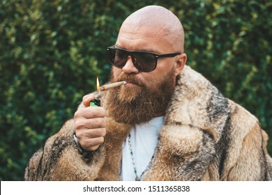 Portrait of posh chic virile bearded brutal man smoking marijuana joint, wearing brown fur gypsy style - hip hop pimp stylish guy lighting up weed (cannabis) blunt at the green background outdoors