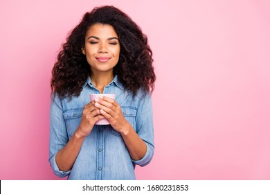 Portrait of positive afro american girl hold hot caffeine beverage enjoy smell wear stylish outfit isolated over pink color background