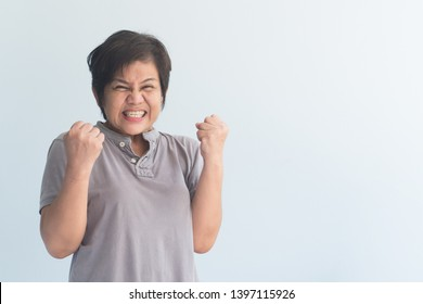 portrait of positive excited, surprised old woman