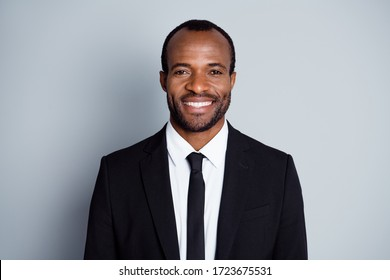 Portrait of positive intelligent afro american economist lawyer man look good mood ready decide choose decision choice solution in gray color background