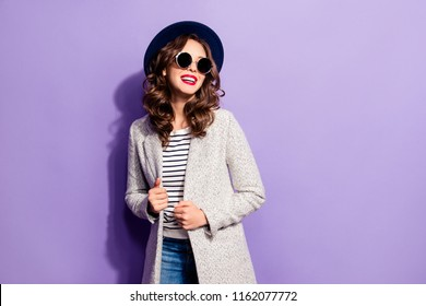 Portrait of positive toothy hipster with beaming smile modern hairdo fashionable look laughing isolated on violet background. Rest relax leisure weekend vacation concept
