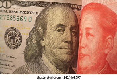 Portrait of President Franklin and Chairman Mao face to face on the dollar and yuan notes. Dialogue of two civilizations. Dialogue of two political and economical systems.