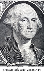 Portrait of president George Washington on one dollar one dollar banknote