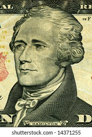 portrait of president Hamilton a 10-dollar banknotes of United States of America
