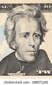 Portrait of president Jackson on 20 dollars bill