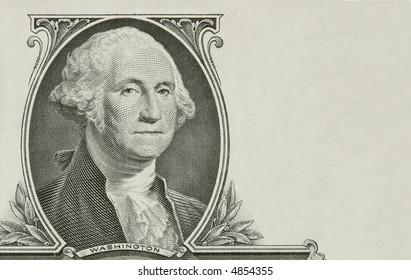 Portrait of the president Washington with added copyspace on right