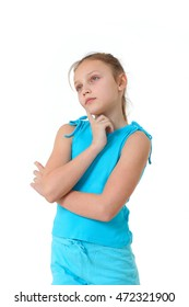 portrait of preteen girl deep in thoughts on white background