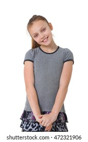 portrait of a preteen girl on white background
