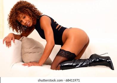 Portrait of pretty african american lingerie model