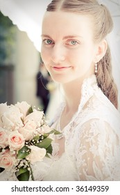 Portrait of pretty bride