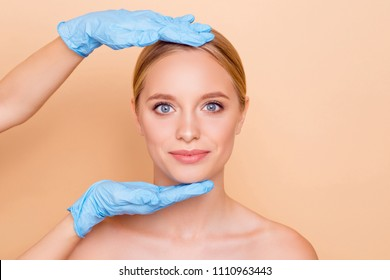 Portrait of pretty cute model getting examination checking consultation before face plastic in medical clinic isolated on beige background having perfect result after collagen procedure