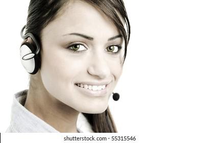 Portrait of pretty female office worker representative smiling