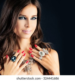 Portrait of Pretty Girl with Jewelry
