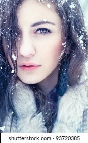 portrait of pretty girls in the winter. photos in cold tones