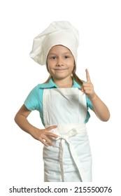 Portrait of pretty little girl in chef uniform