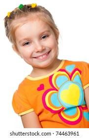 portrait of a pretty little girl over white