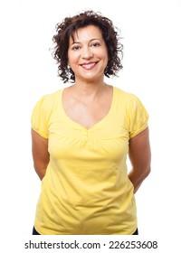 portrait of a pretty mature woman over white
