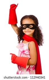 Portrait of pretty mixed race African American girl pretending to be a super hero