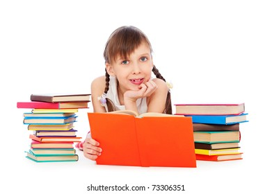 portrait of pretty smiley girl with books. isolated on white background