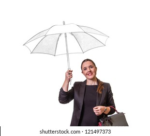 Portrait of pretty smiling girl with drawing umbrella under the rain isolated on white background