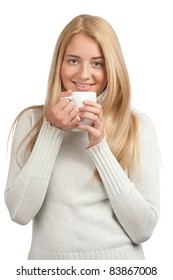 Portrait of pretty smiling woman holding cup of coffee