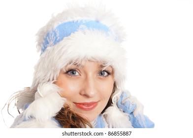 portrait of a pretty snow maiden on white