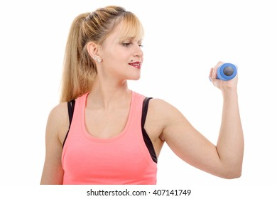 a portrait of pretty sporty girl holding weight