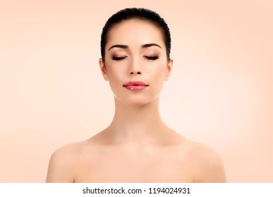 Portrait of pretty woman. Beautiful girl. Lady with clean and fresh skin