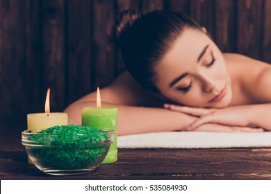 Portrait of pretty woman having aromatherapy and relaxing in spa