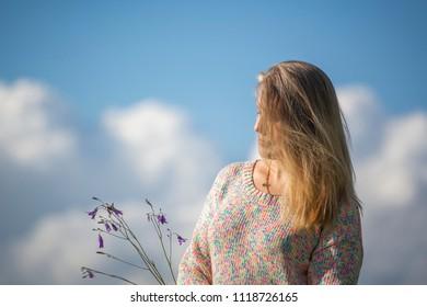 Portrait of pretty woman outdoor